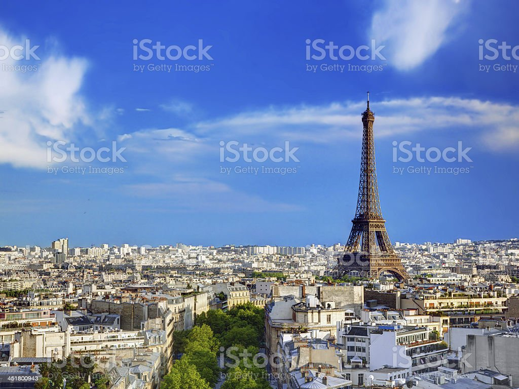 Rooftop view on the Eiffel Tower, Paris, France stock photo
