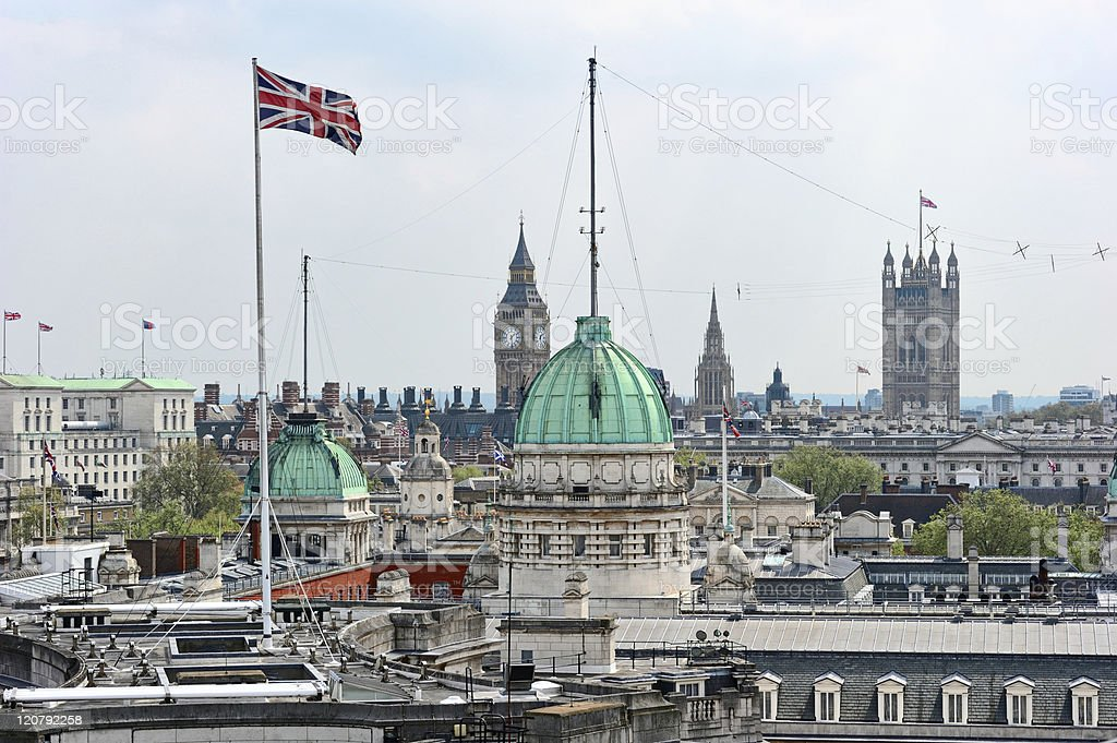 Rooftop view over Whitehall, London, England, UK royalty-free stock photo