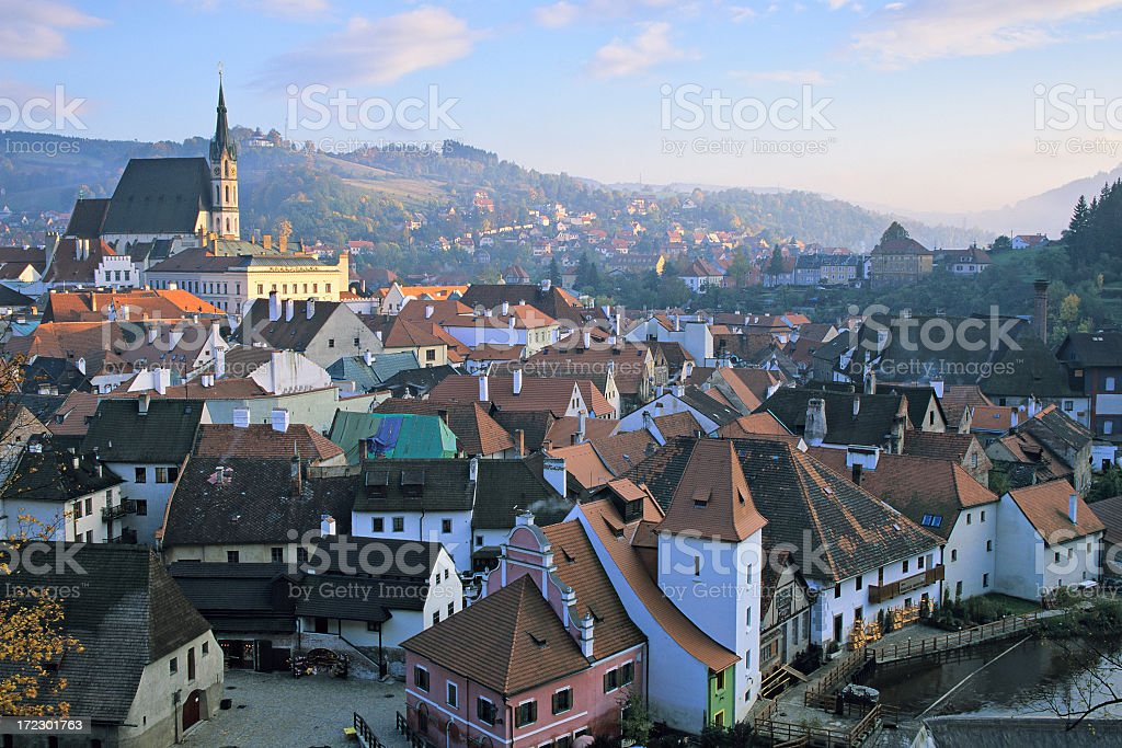 Rooftop views of the town Cesky Krumlov during the day royalty-free stock photo