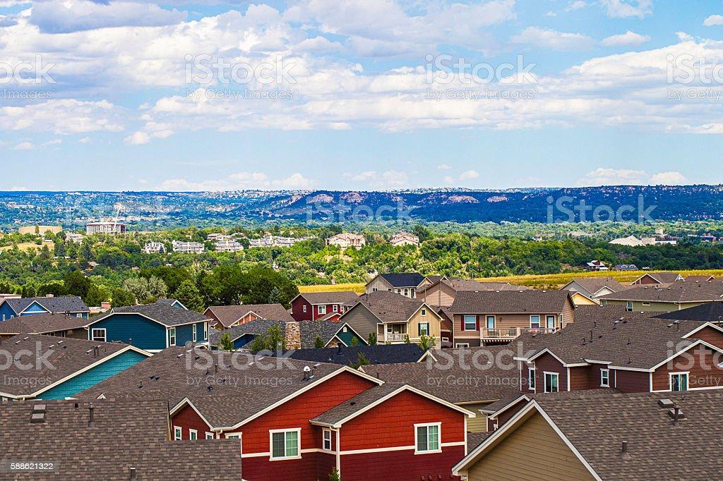 Rooftop views over Colorado Springs. Colorado, USA stock photo