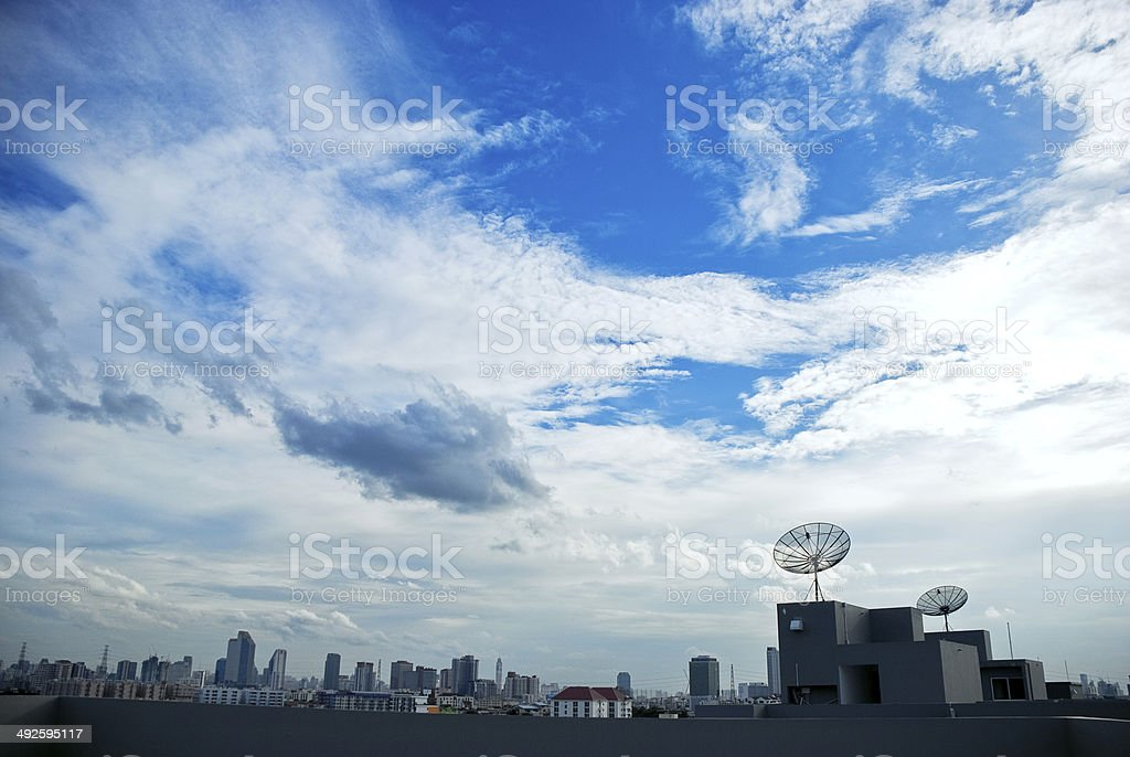 Rooftop with Satellite stock photo