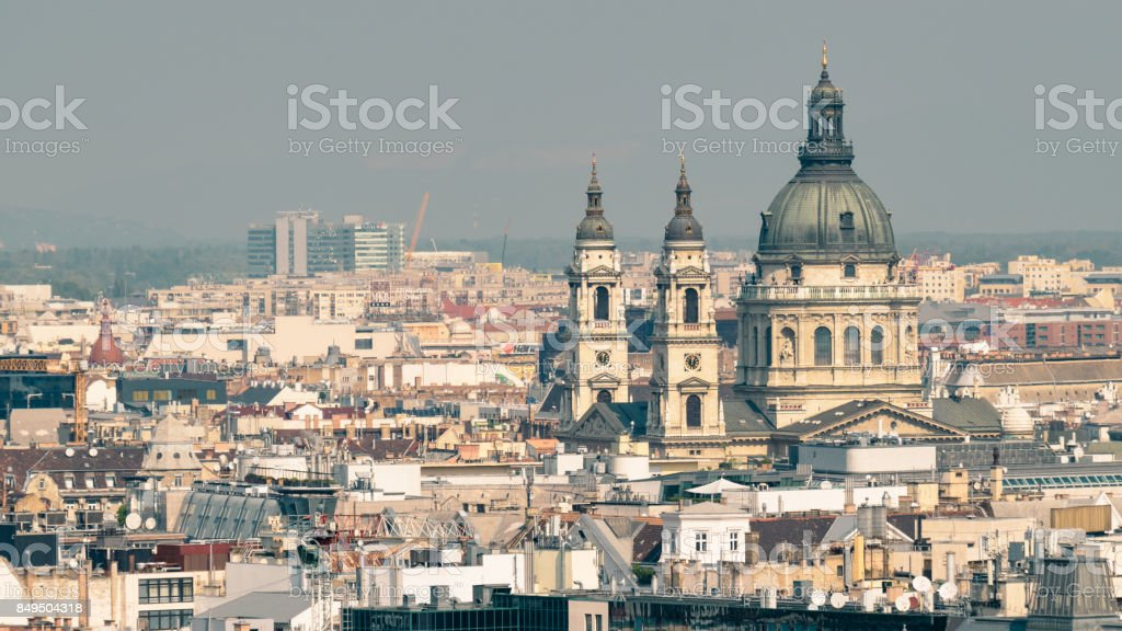 Rooftops and Dome of St. Stephens Basilica, Budapest, Hungary stock photo