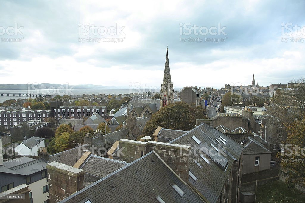 Rooftops and Dundee shown on a blue sky stock photo