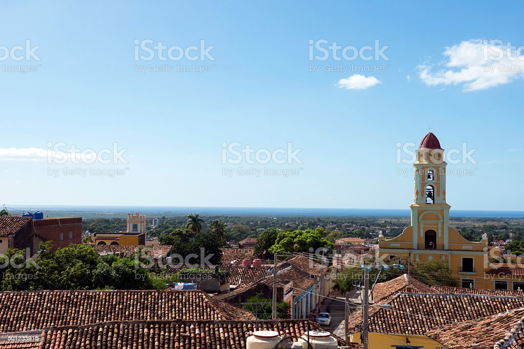 Rooftops and skyline in Trinidad, Cuba stock photo
