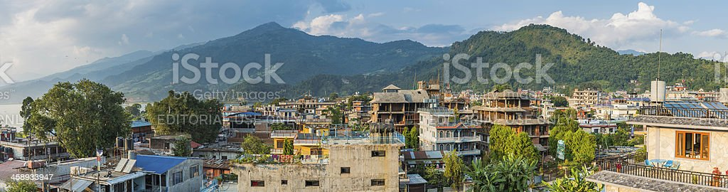 Rooftops and terraces above vibrant Pokhara Himalayas Nepal stock photo