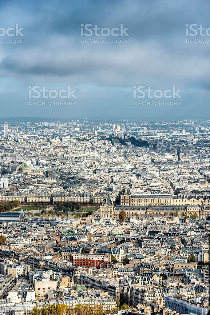 Rooftops, buildings and boulevards in Paris stock photo