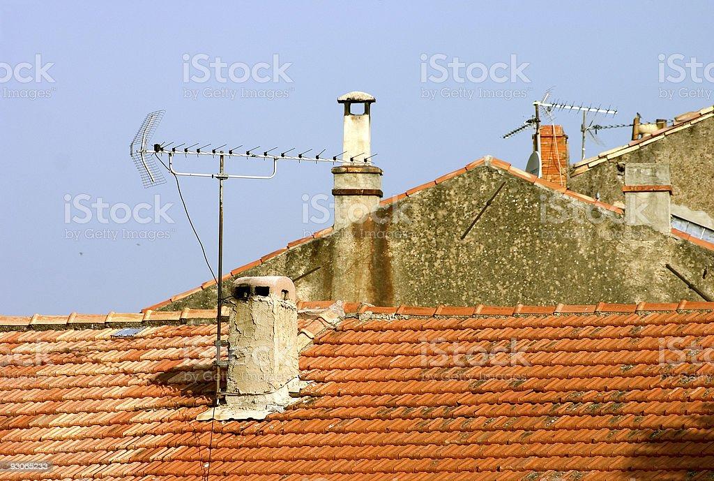 Rooftops, chimneys, antennas royalty-free stock photo