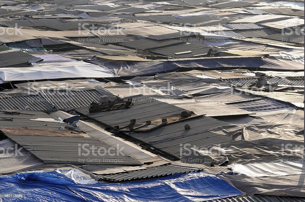 Rooftops in a ghetto slum royalty-free stock photo