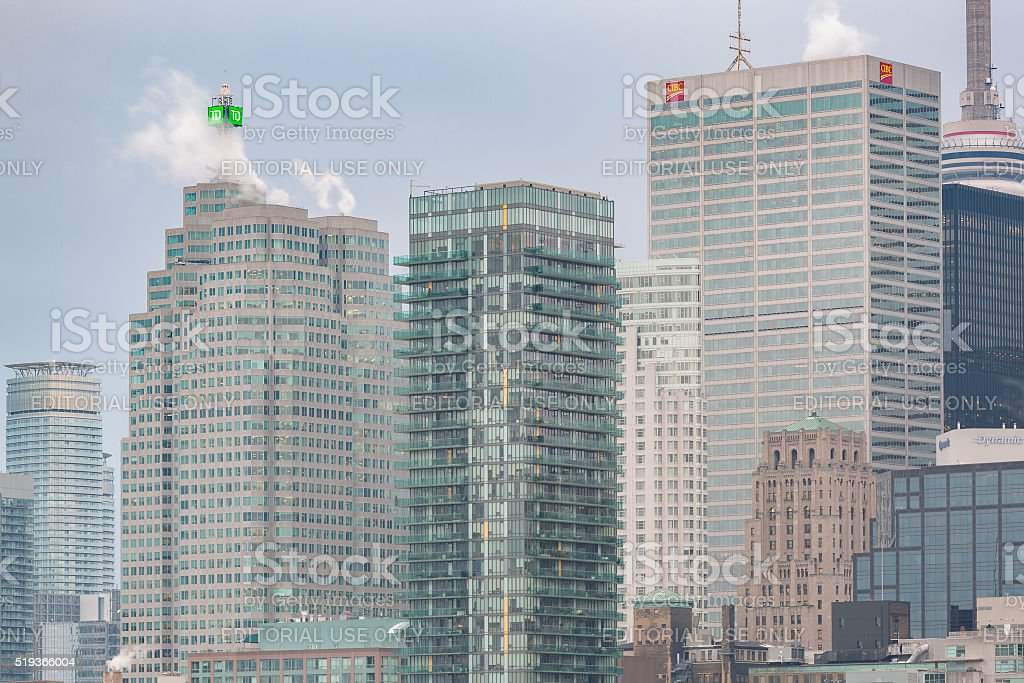 Rooftops in Financial District of Downtown Toronto stock photo