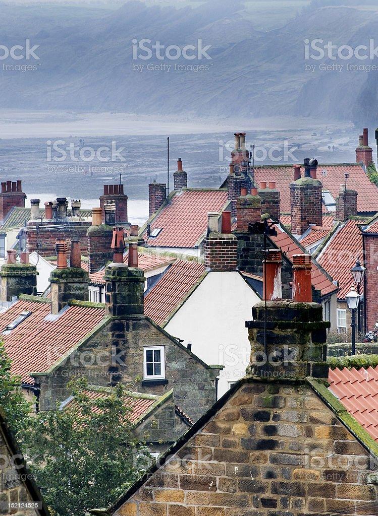 Rooftops in Robin Hoods Bay stock photo