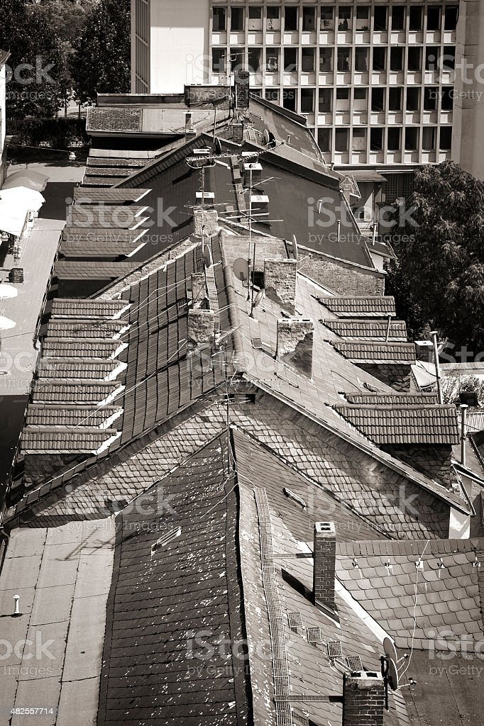 Rooftops in the city of Wiesbaden stock photo