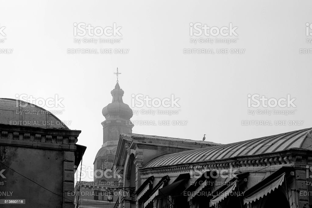 Rooftops near the Rialto Bridge stock photo