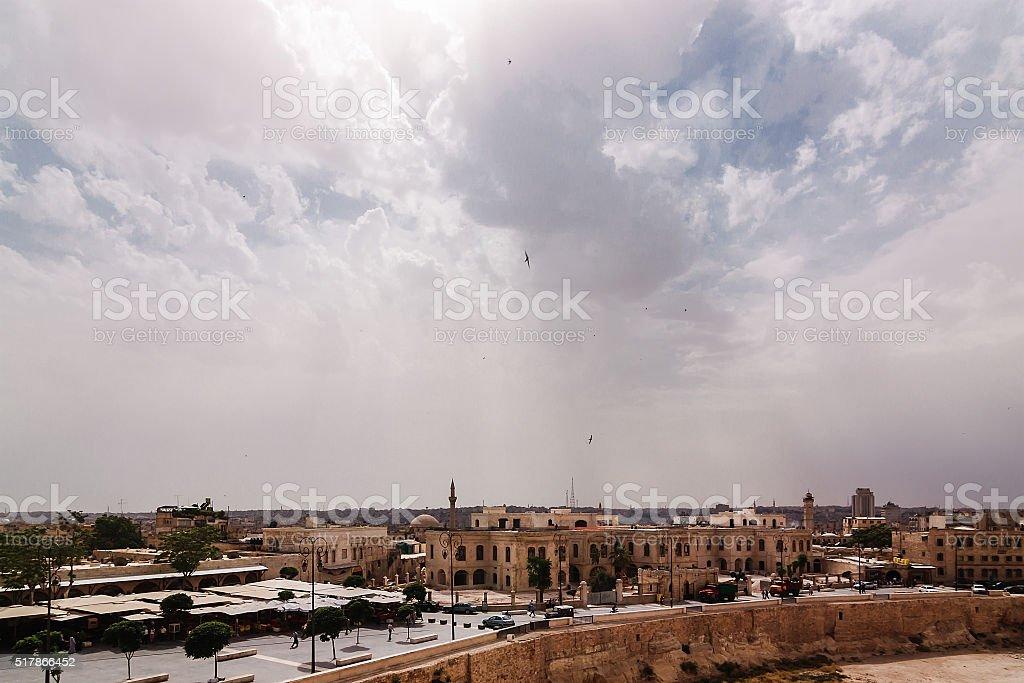 Rooftops of Aleppo City, Syria stock photo