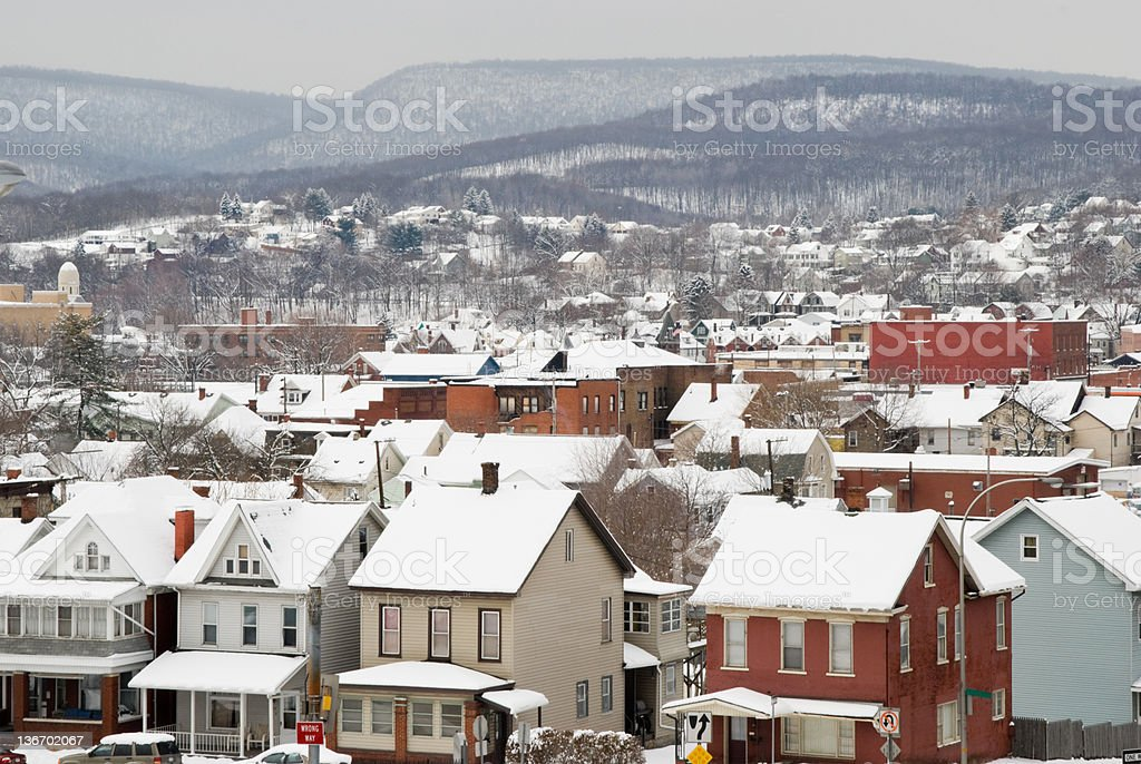 Rooftops of an American Town in Snow, High Angle stock photo