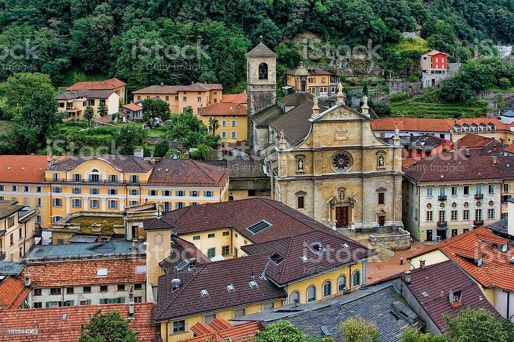 Rooftops of Bellinzona 2, Switzerland royalty-free stock photo