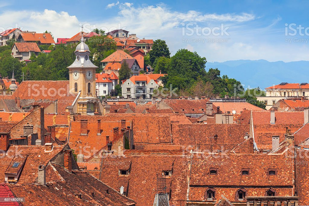 Rooftops of Brasov, Romania stock photo