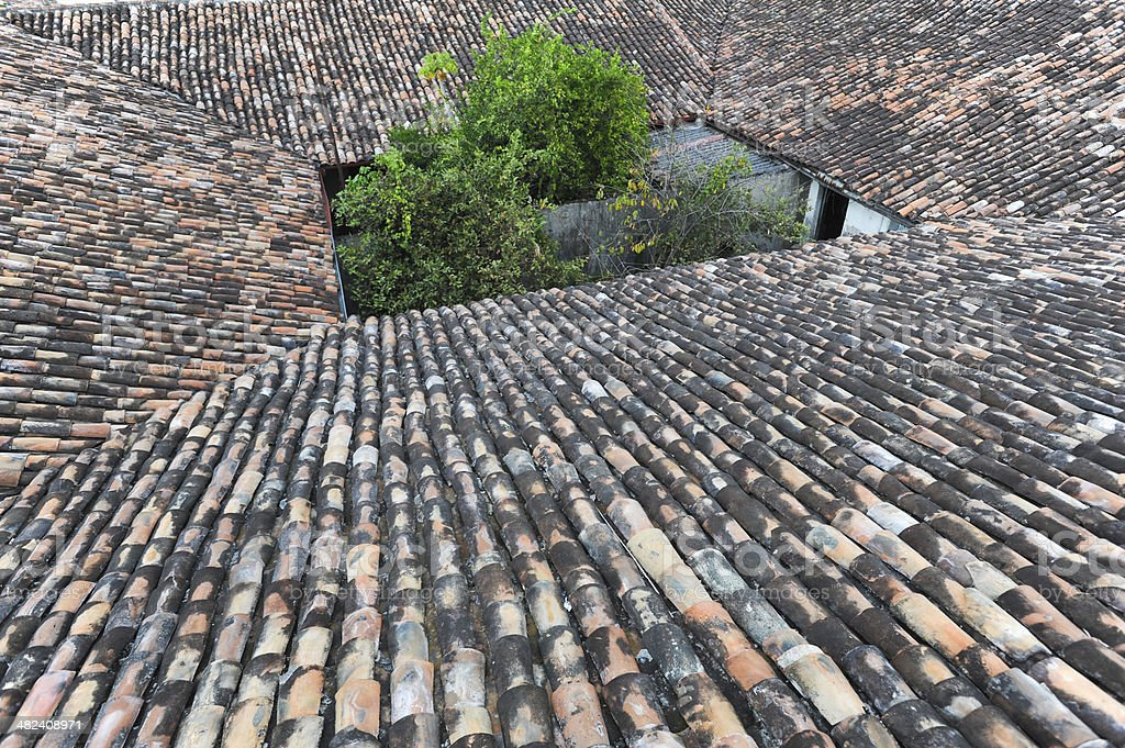 Rooftops of colonial town of Suchitoto stock photo