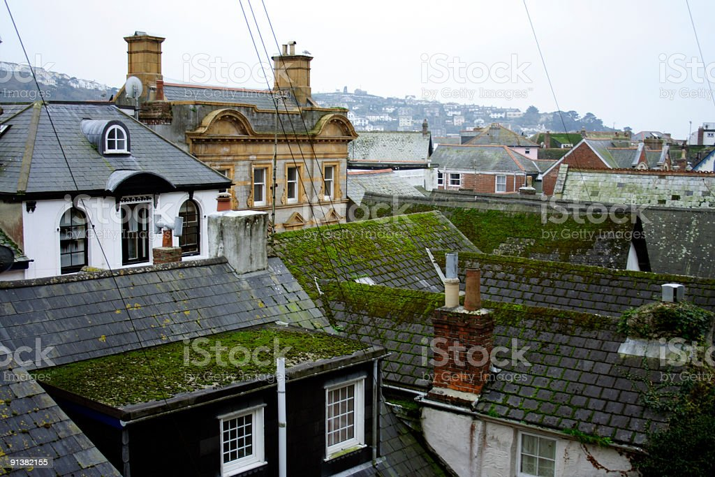 Rooftops of Fowey, Cornwall royalty-free stock photo