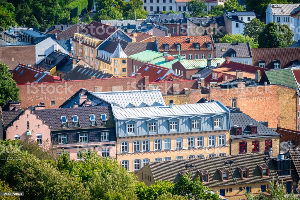 Rooftops of Helsingborg stock photo