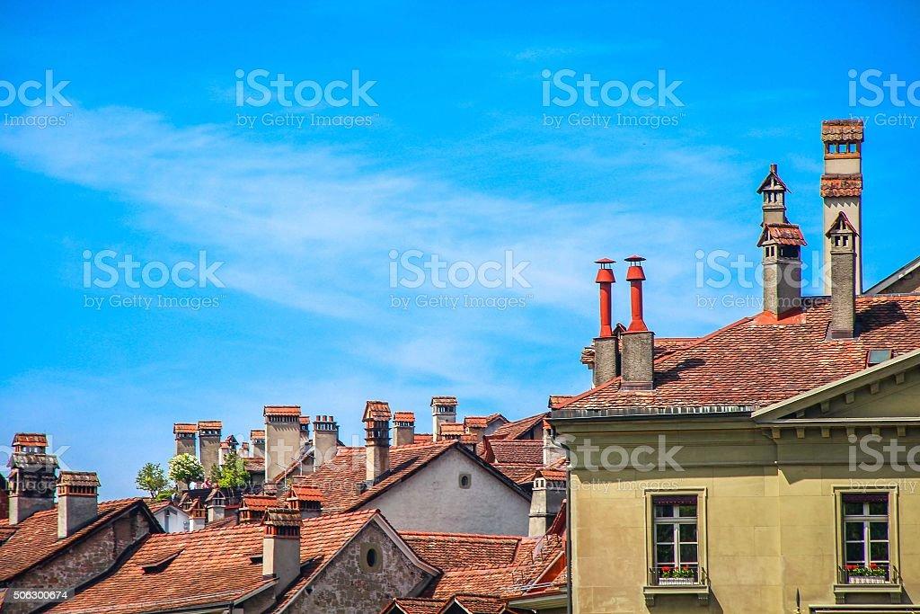 Rooftops of houses in Berne, Switzerland stock photo
