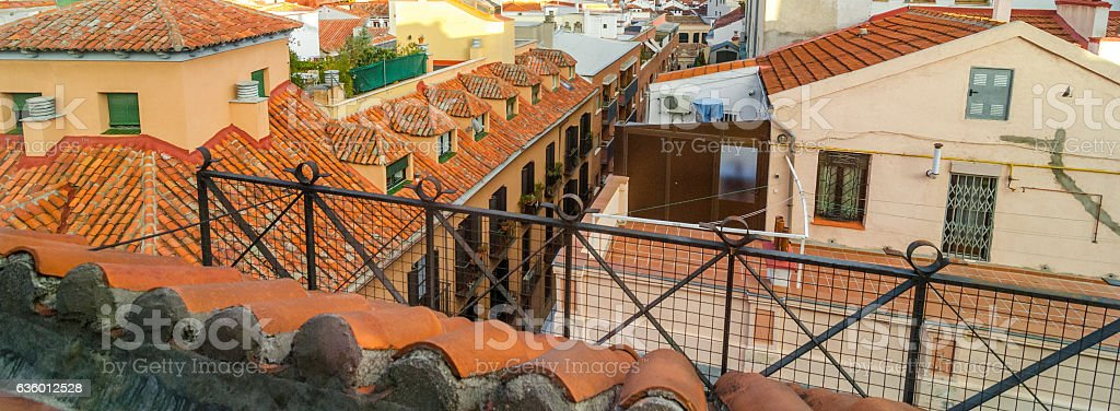 Rooftops of Madrid city. stock photo