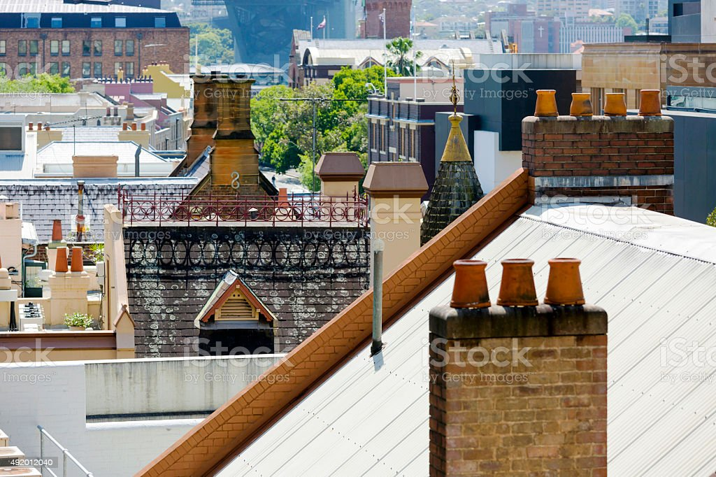 Rooftops of old town The Rocks, Sydney Australia stock photo