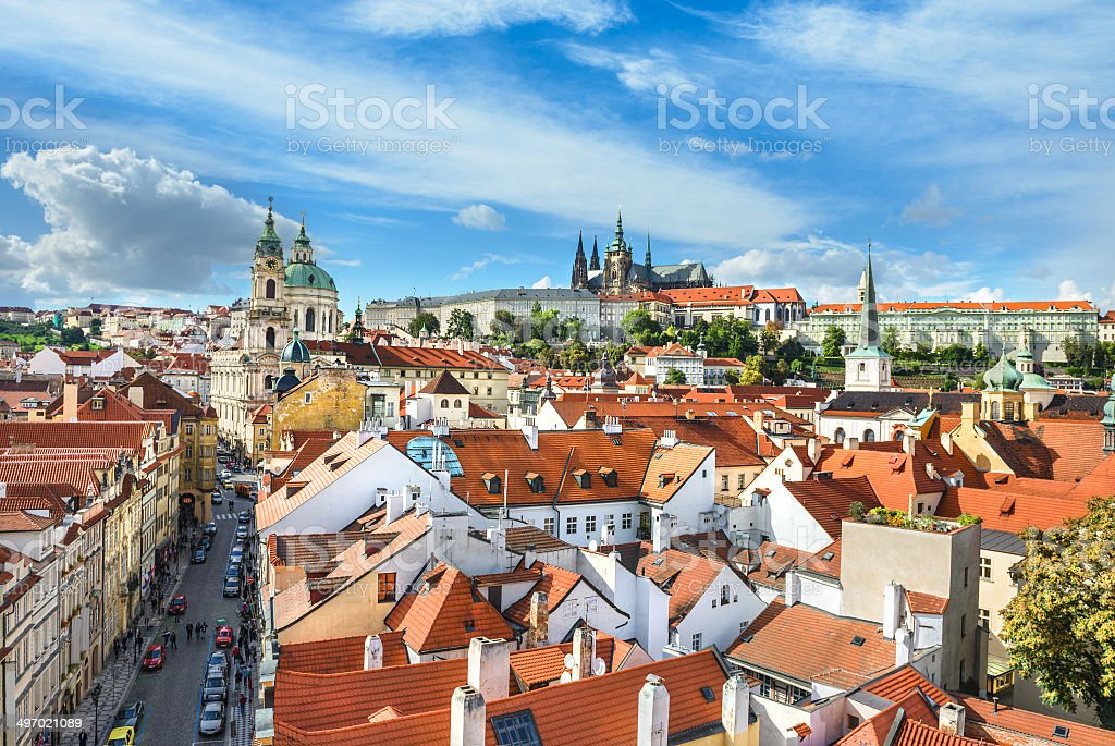 Rooftops of Prague, aerial view stock photo