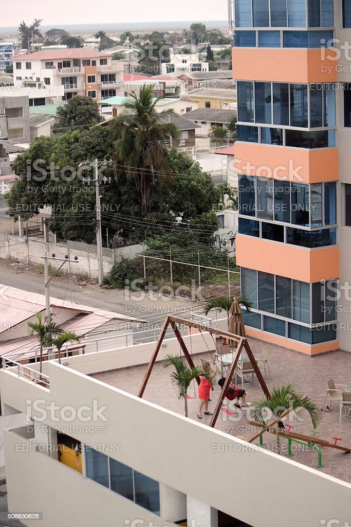 Rooftops of Salinas, Ecuador stock photo
