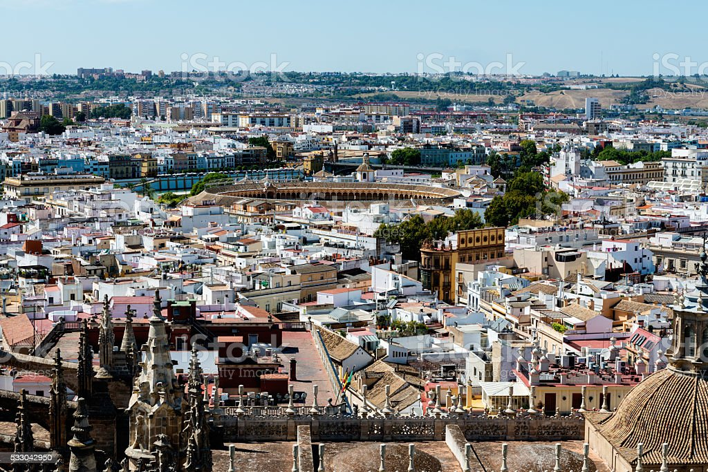 Rooftops of Seville in Spain on a sunny day stock photo