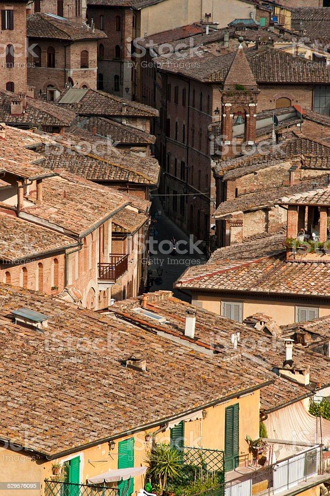 Rooftops of Siena, Italy stock photo