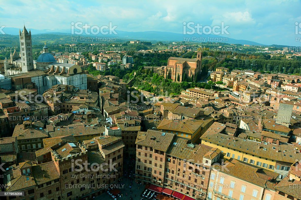 Rooftops of Siena Italy stock photo