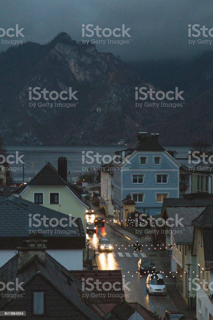 Rooftops of small town in upper Austira stock photo