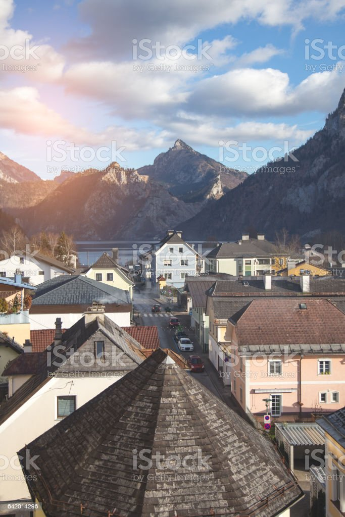Rooftops of small town on a lake stock photo