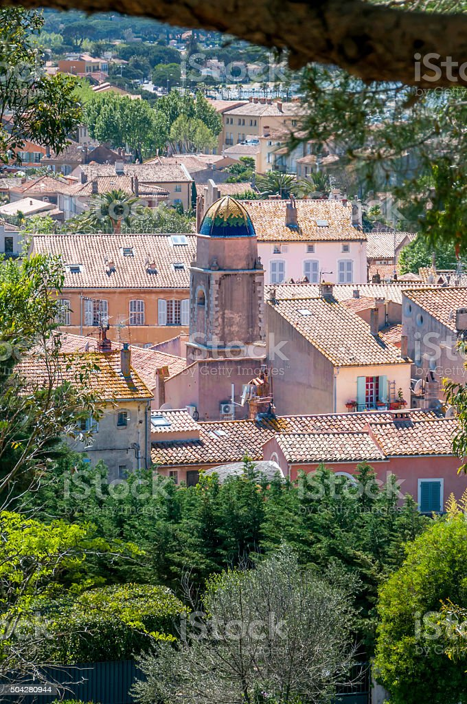 Rooftops of St Tropez, France stock photo
