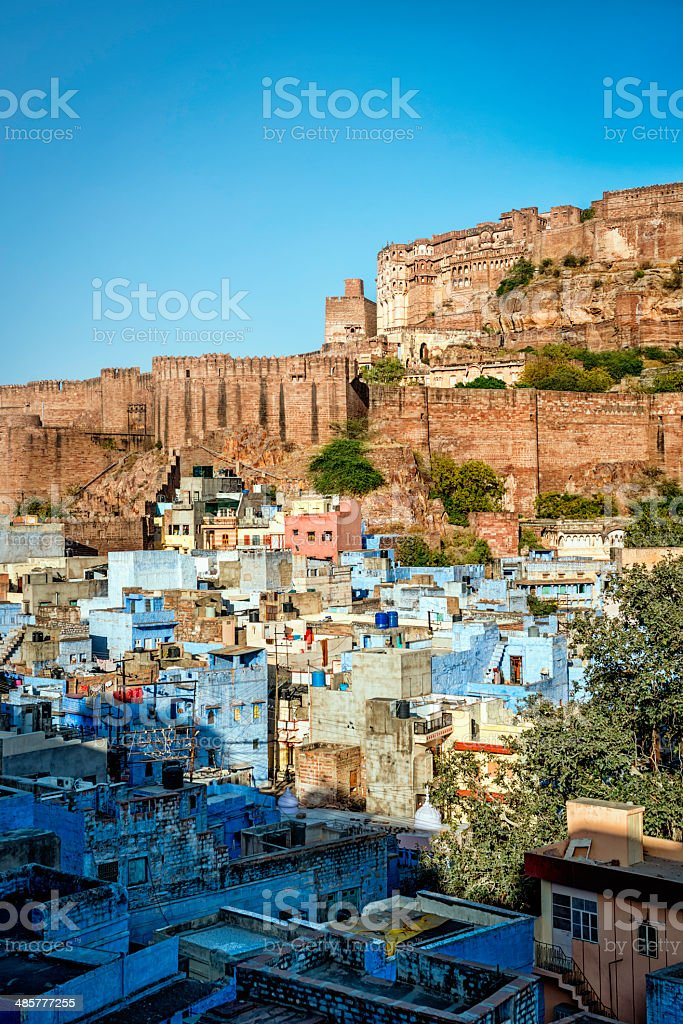 Rooftops of the Blue City with Mehrangarh Fort, Jodhpur stock photo