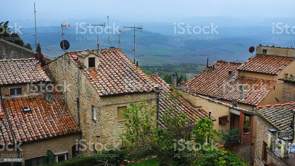 Rooftops of Volterra stock photo