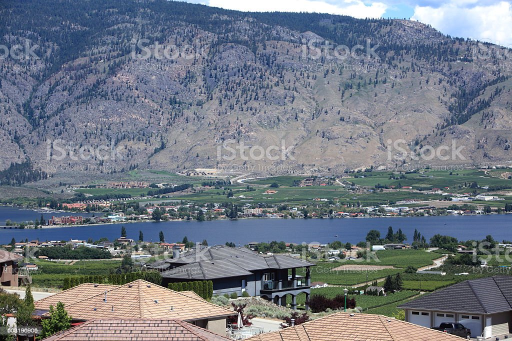 Rooftops Over Osoyoos British Columbia stock photo