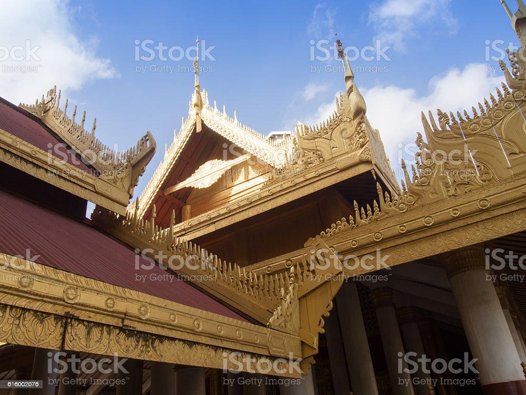 Rooftops, Royal Palace, Mandalay, Myanmar stock photo