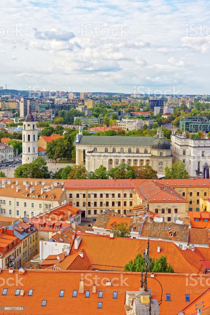 Rooftops view on Cathedral Square in old town of Vilnius stock photo