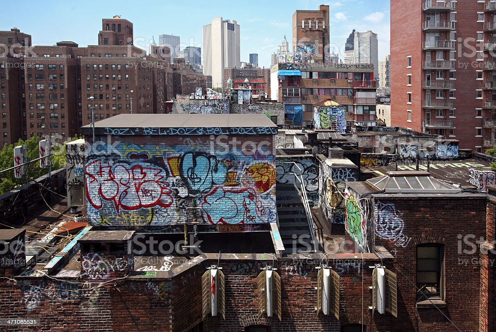 Rooftops With Graffiti, New York City stock photo