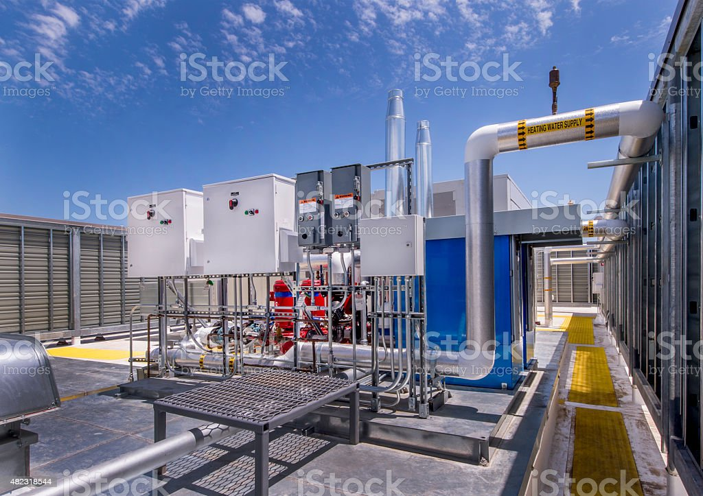 Rooftp HVAC system with Pumps stock photo