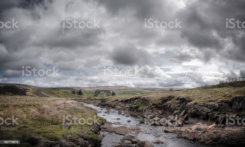 Rookhope Arch and Weardale countryside, HDR image, Durham, UK royalty-free stock photo