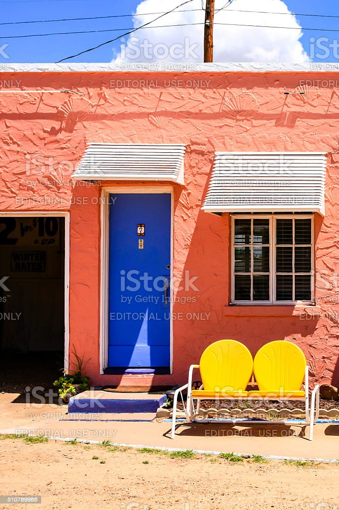 Room at the Route-66 Blue Swallow Motel in Tucumcari, NM stock photo