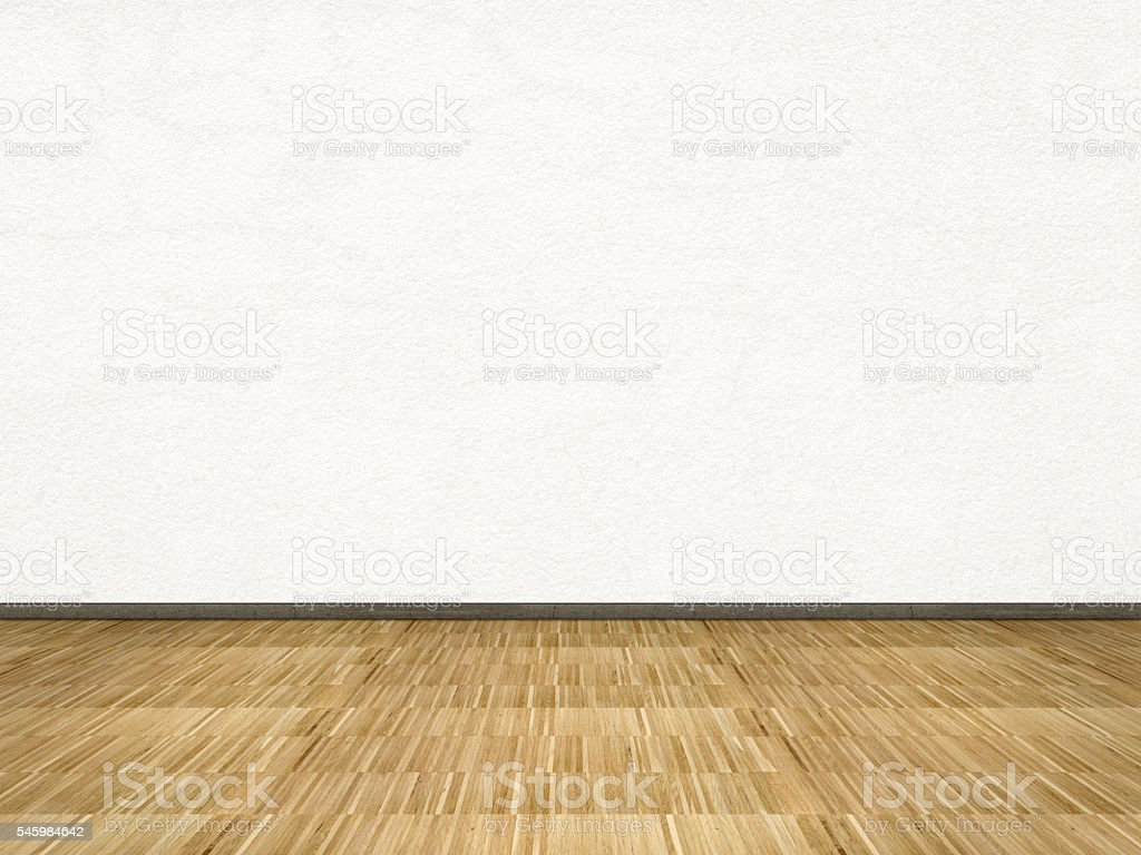 room background with white wall and wooden floor stock photo