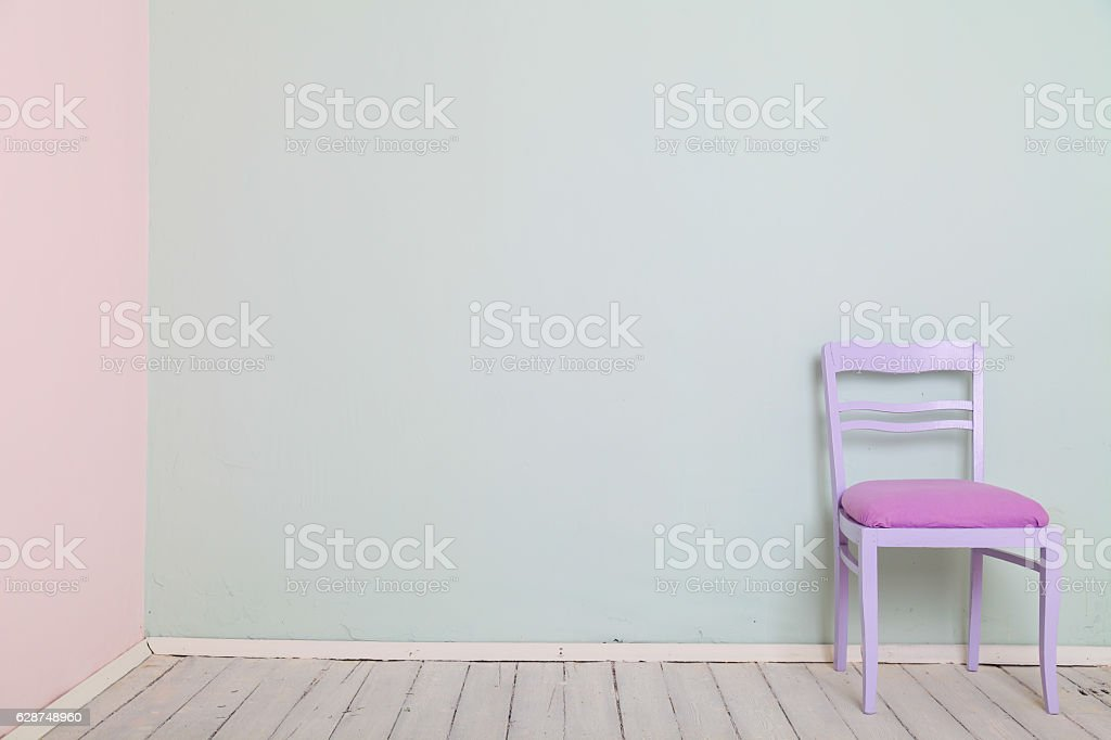 room chair color wall Mint pink stock photo