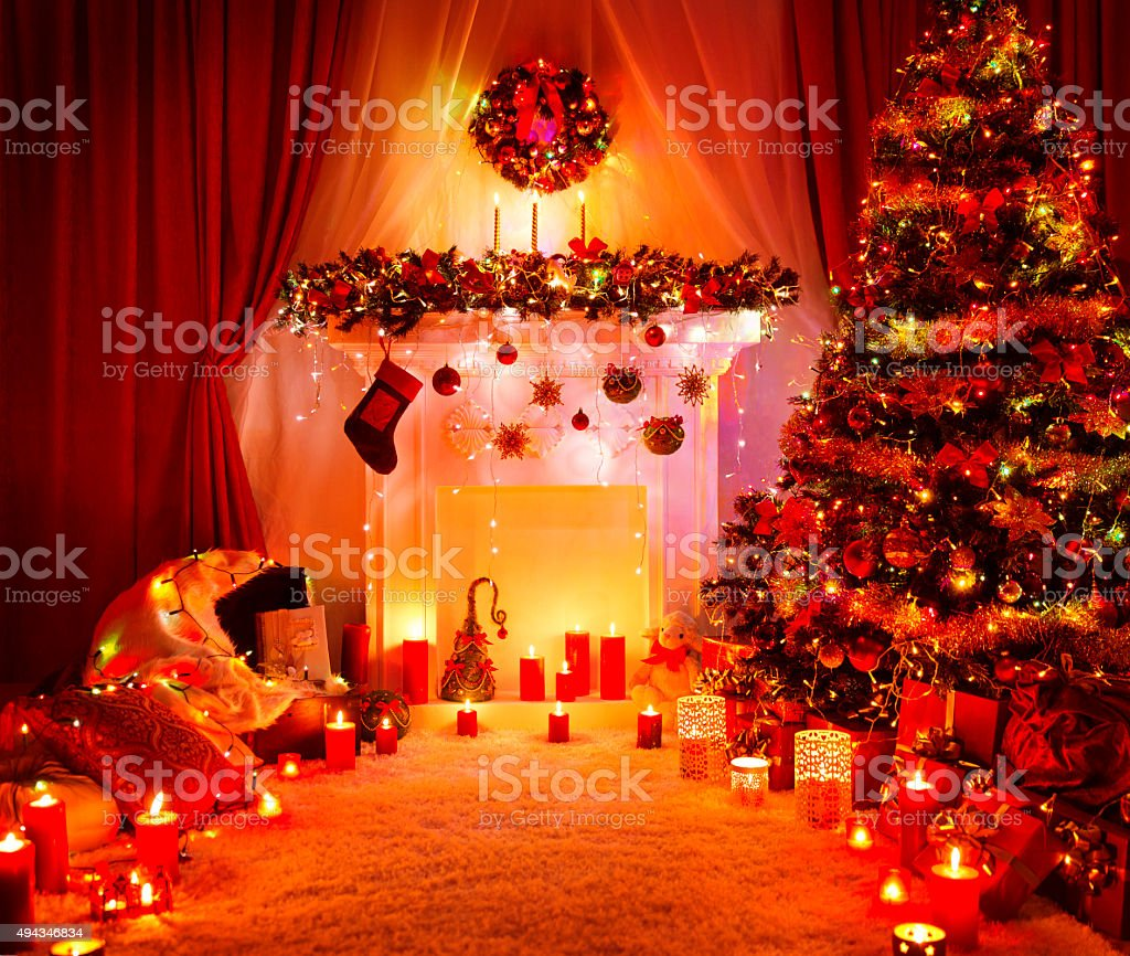 Room Christmas Tree Fireplace Lights, Xmas Home Interior Decoration, Presents stock photo