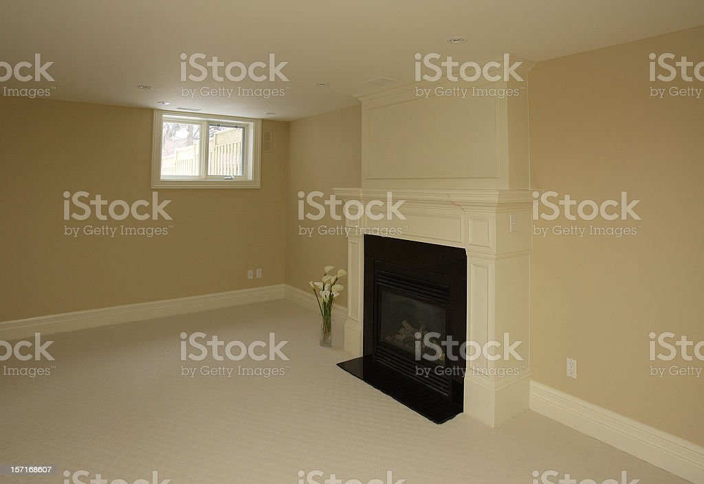 Room corner with fireplace royalty-free stock photo