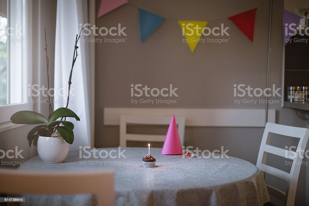 room decorate for small birthday party stock photo