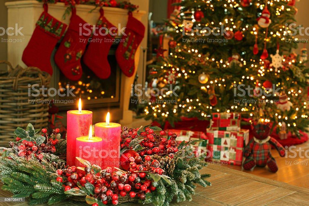 decoradas para navidad como rbol de navidad corona velas medias de