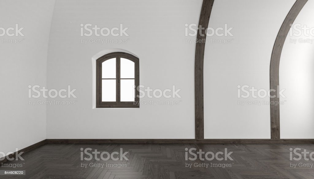 Room Detail with a Windowed Wall and Chevron Parquet stock photo